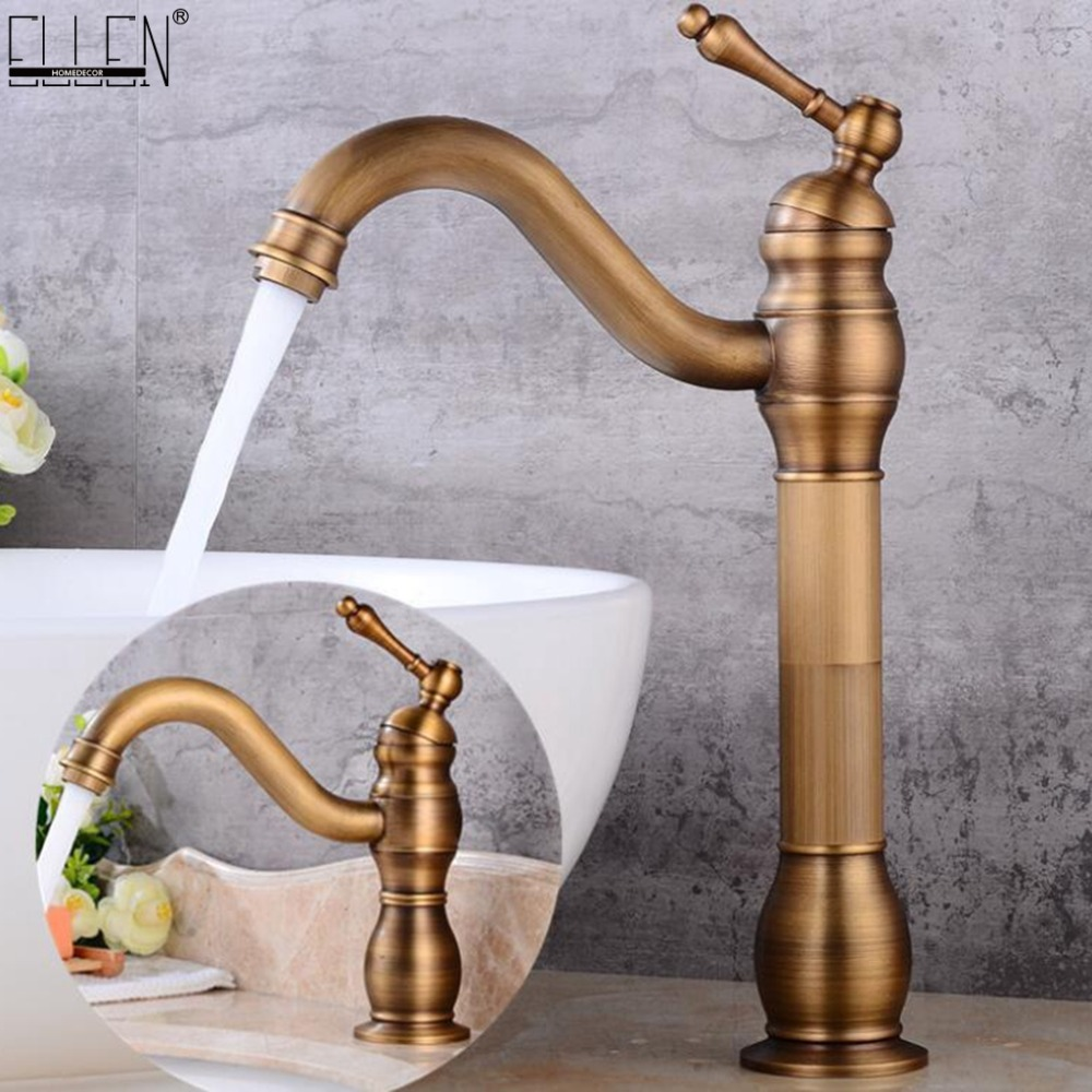 Antique Bronze Tall Sink Faucet Bathroom Water Basin Faucets Hot and Cold Deck Mounted Mixer Tap