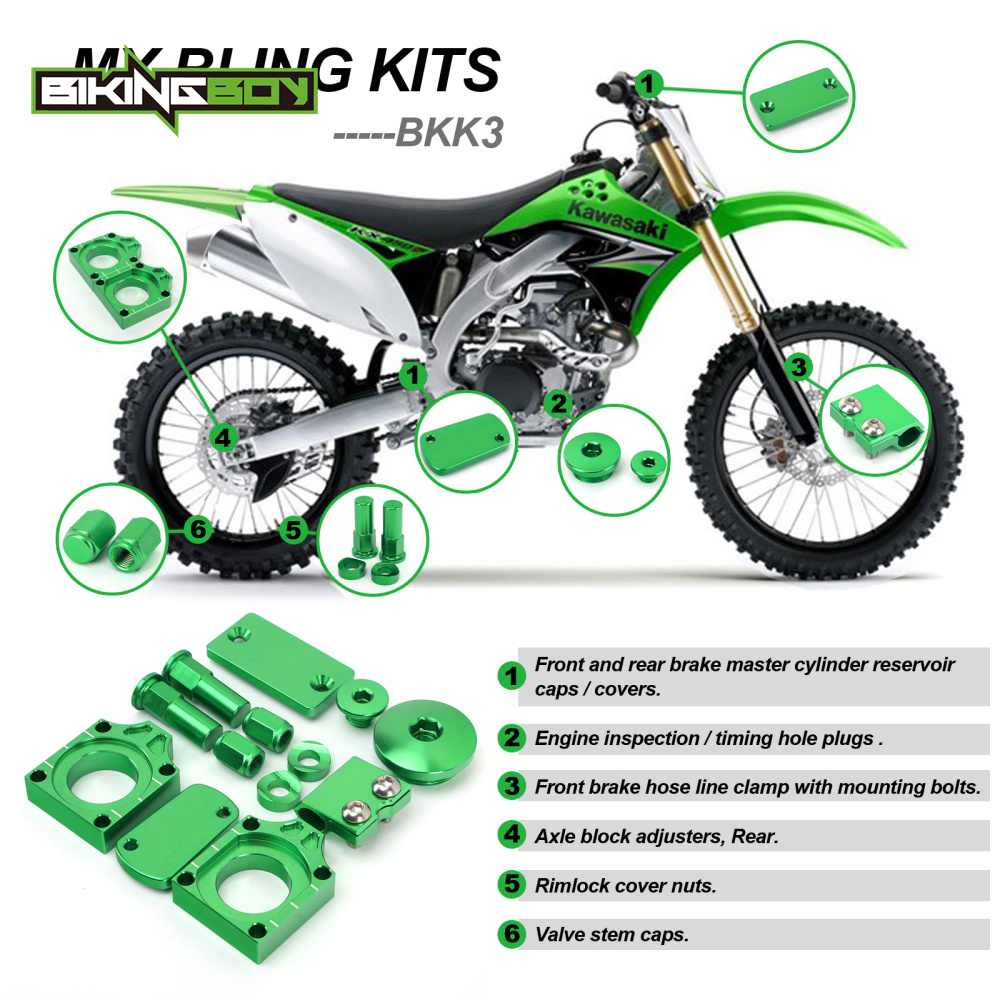 GREEN MX Motocross Offroad Bling Kits for KAWASAKI KXF 250 KXF250 KXF450 KXF 450 KLX450 KLX 450 08 09 10 11 <font><b>12</b></font> <font><b>13</b></font> 14 image