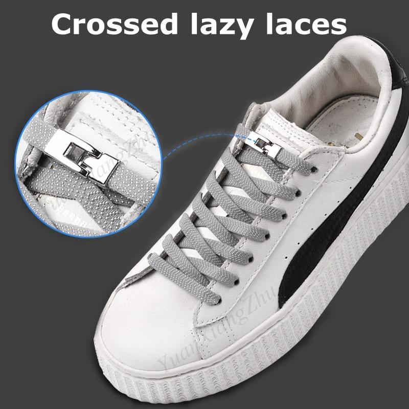 1 Second Quick No Tie Shoelaces Elastic Cross Buckle ShoeLaces Kids Adult Unisex Sneakers Shoelace Lazy Laces Strings