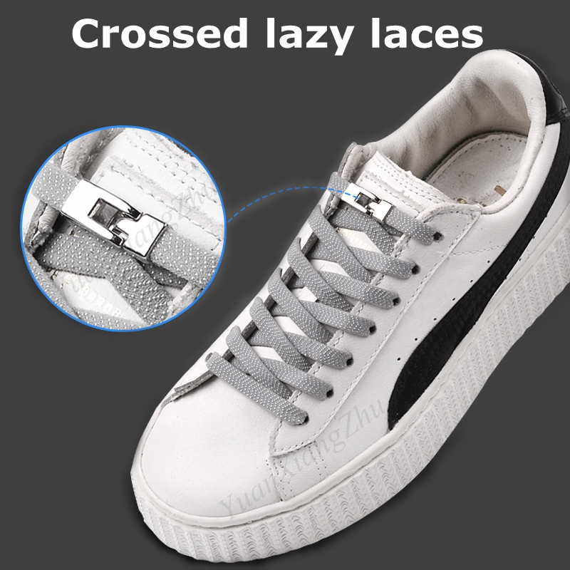 1 Second Quick No Tie Shoelaces Elastic Cross Buckle ShoeLaces Kids Adult Unisex Sneakers Shoelace Lazy Laces Strings