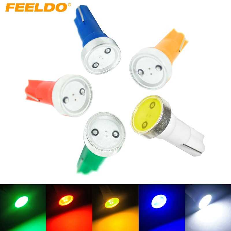 FEELDO 4pcs Super T5 Power 1W 1LED Car LED Light Wedge Dashboard Light License Plate Light White,red,blue,yellow,green #HQ3346