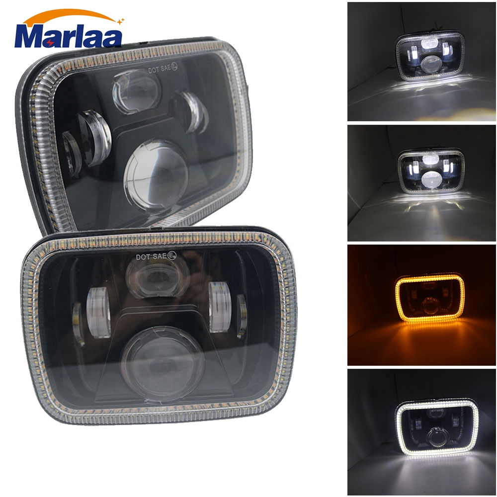 Marlaa 2pcs 5X7 7X6 inch Square LED Headlight With White DRL Amber Turn Signal Light for