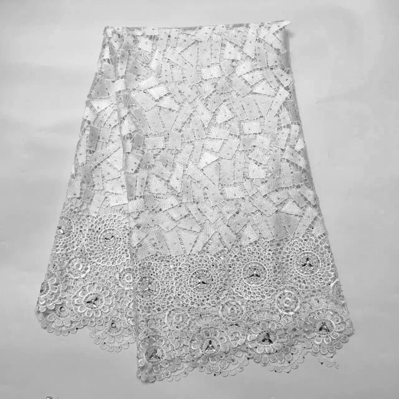 White High quality water soluble african cord lace guipure lace fabric with stones for dress sewing