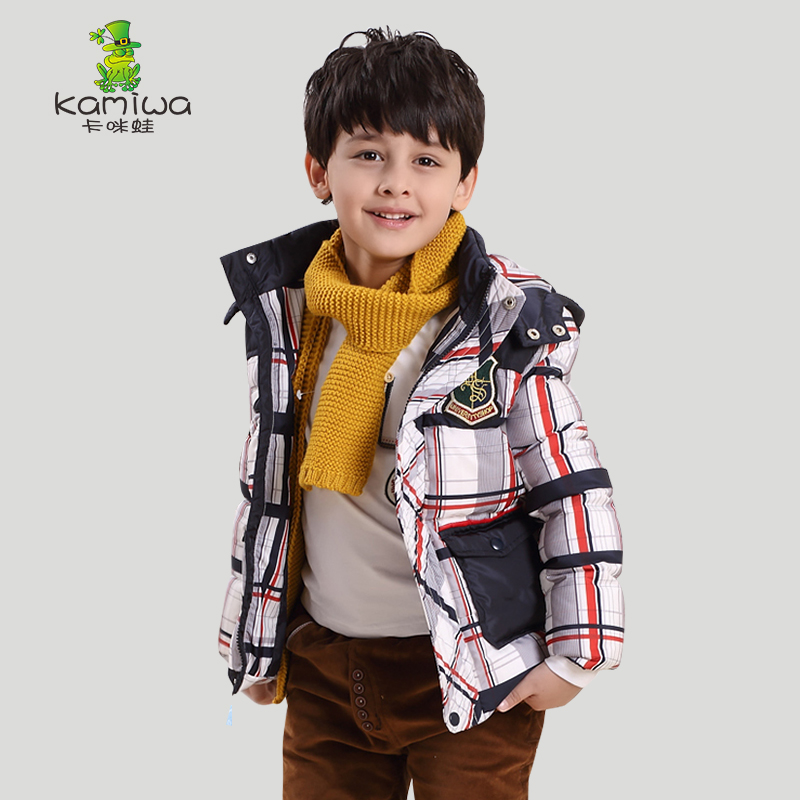KAMIWA 2016 Boys Plaid Printing Winter White Duck Down Coats Thickening Parkas Jackets Brand Hooded Children's Kids Clothing