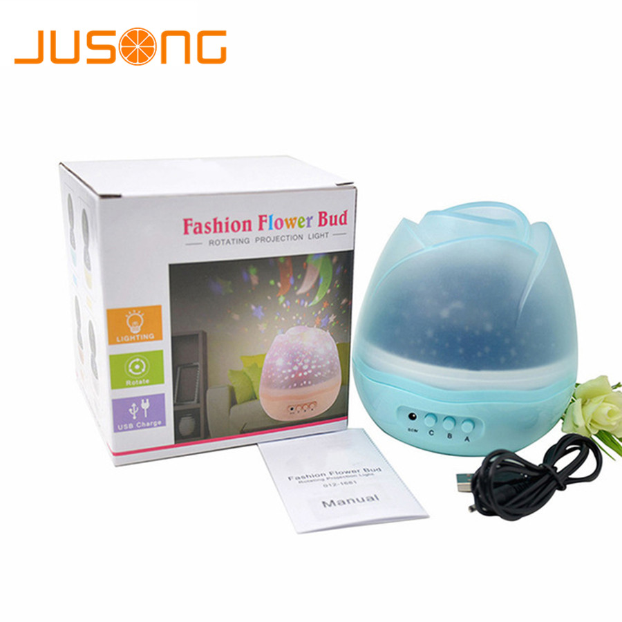 все цены на JUSONG Star Master Rotating Night Light Star Projector Baby Kids Sleep Romantic Led Spin Starry Sky Battery USB Lamp Lighting