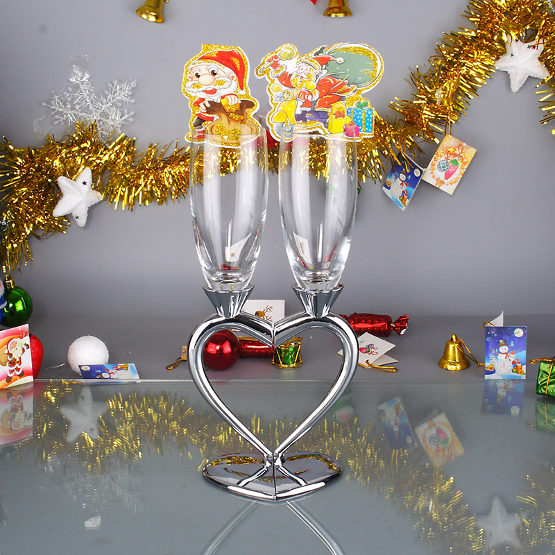 2pcs Set Wine Glass Cup Romantic Metal Nuptial Cup Ornamental Heart-shaped Wedding Wedlock Wine Glass Decoration Glassware Gifts