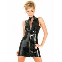 חדש S-XXL סקסי מראה רטוב שמלה ללא שרוולים עם רוכסן PVC עור לטקס שעבוד Clubwear Bodycon בגד גוף קוטב ריקוד תלבושות