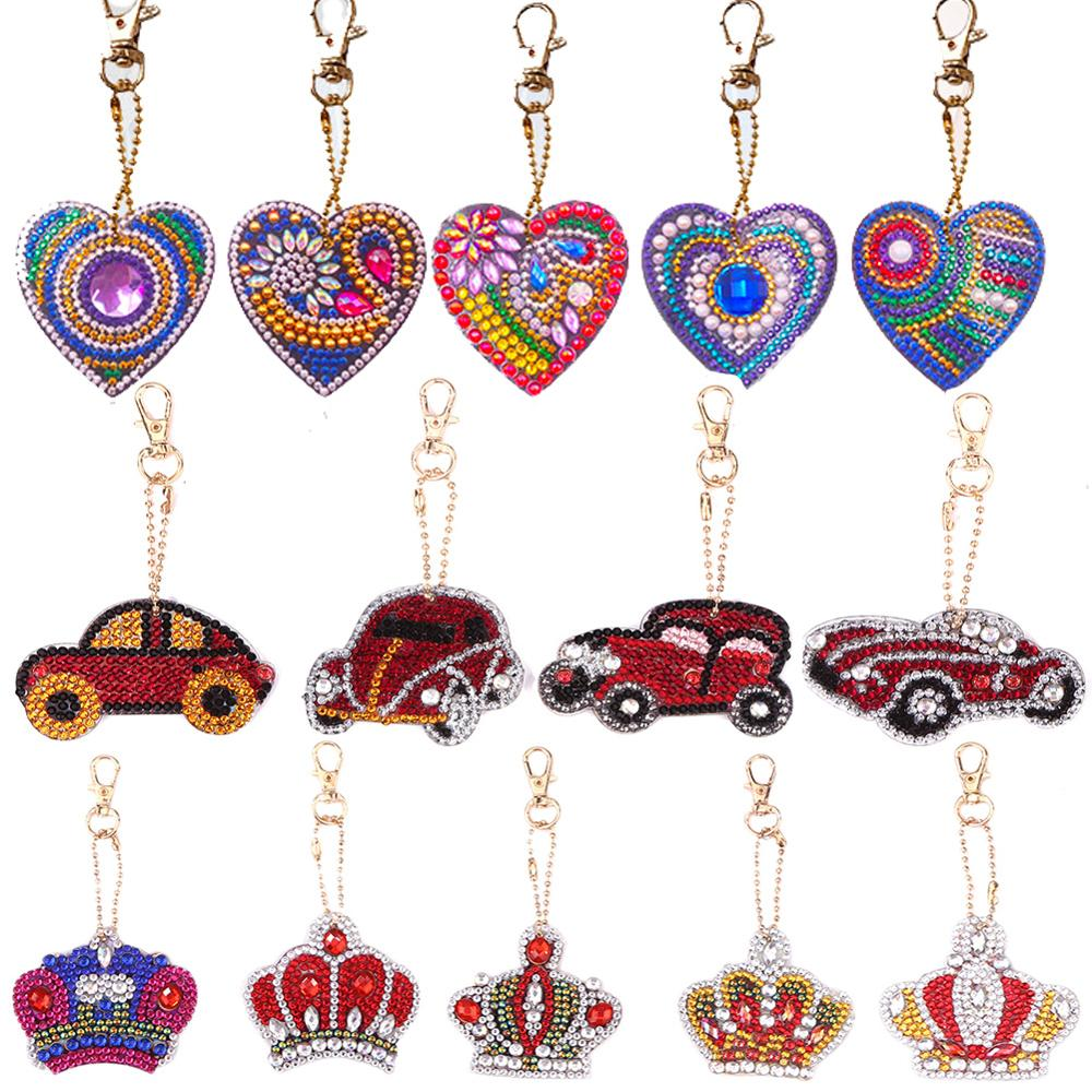 1-6 PCS DIY Full Diamond Keychain Special Shaped Diamond Painting Heart Animal Car Keychain Embroidery Women Bag Key Chain