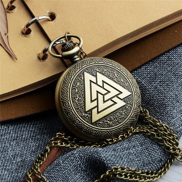 Retro Bronze Steampunk quartz pocket watch men women Triangle pattern necklace p