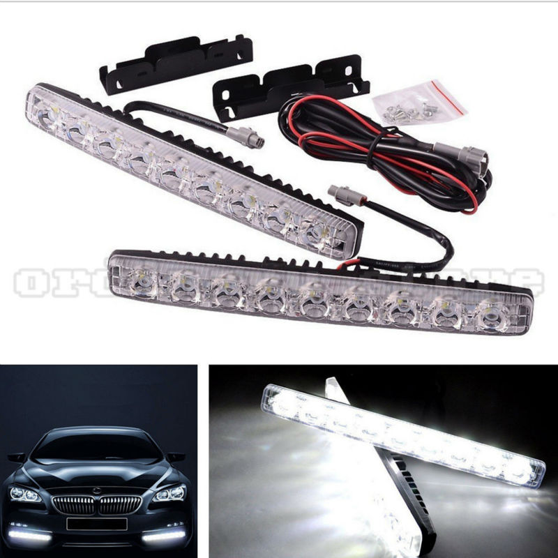 1 Pair Super Bright White 18W 9 LED Car Headlight Daytime Running Light DRL Fog Driving Safety Daylight Head Lamp Waterproof 1 pair 12 led strip flexible snake style eagle eye car drl daytime running light driving daylight safety day fog lamp