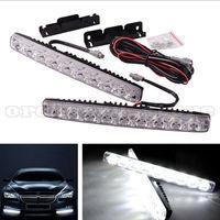 1 Pair Super Bright White 18W 9 LED Car Headlight Daytime Running Light DRL Fog