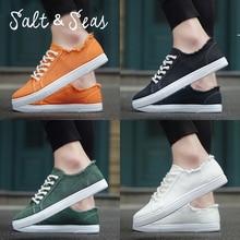Salt Seas Men Canvas Shoes sFashion Autumn 4 Colors Men Casual Shoes Lace-up Breathable Men Sneakers size 39-44