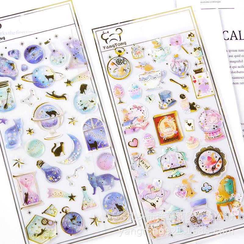 YT-HK Fantasy Cute Cartoon Transparent Planet Cat Diary Hand Account Decoration Sticker Child Sticker