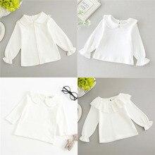 Белая футболка для новорожденных мальчиков детская хлопковая блузка с длинными рукавами для маленьких девочек топы, футболки детская белая одежда с оборками для малышей