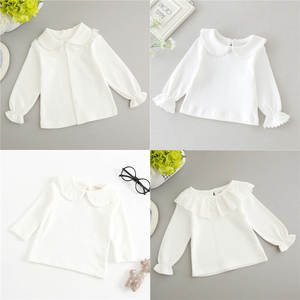 Blouse Tee-Shirts Tops Colthes Long-Sleeved Ruffle Toddler Girls Newborn White Infant