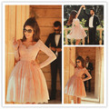 Newest Pink long sleeves appliques beading short lace cocktail dresses knee length prom dress vestido coquetel CKD-06