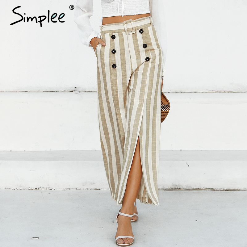 Simplee Striped split sash casual   pants   women Elastic high waist wide leg button linen trousers Elegant female spring   capris