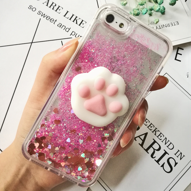 3D Cartoon Squishy Cat Quicksand Case For iPhone 5 s SE Case For iPhone 6 6s 7 8 Plus X Case Glitter Liquid Back Cover Case (16)