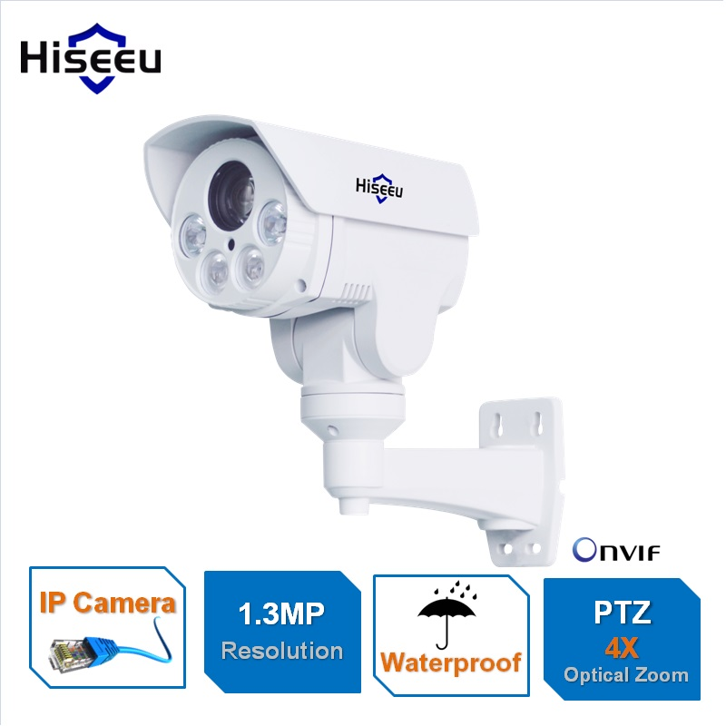 HD 1.3MP IP Camera PTZ Bullet 4X Zoom 960P HD Project Night Vision Outdoor Waterproof IRCUT ONVIF P2P ONVIF POE Hiseeu hd 1 3mp ip camera ptz bullet 4x zoom 960p hd project night vision outdoor waterproof ircut onvif p2p onvif poe hiseeu
