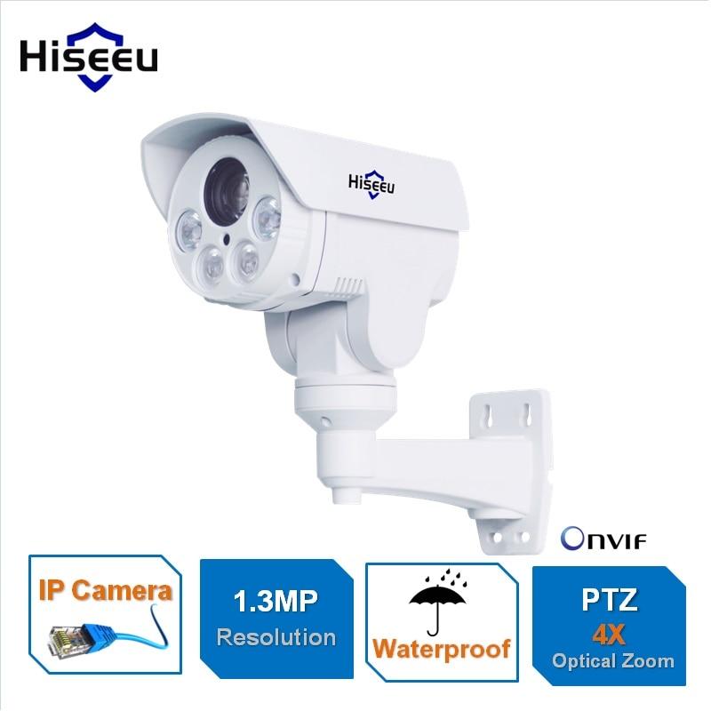 HD 1.3MP IP Camera PTZ Bullet 4X Zoom 960P HD Project Night Vision Outdoor Waterproof IRCUT ONVIF P2P ONVIF POE Hiseeu