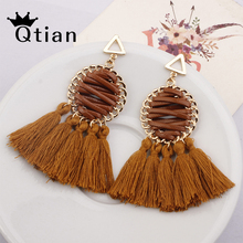 цена на Qtian Bohemian Tassel Earrings For Women Ethnic Big tone hoop boho fringe statement Round Drop Earrings Jewelry Fringe Dangle