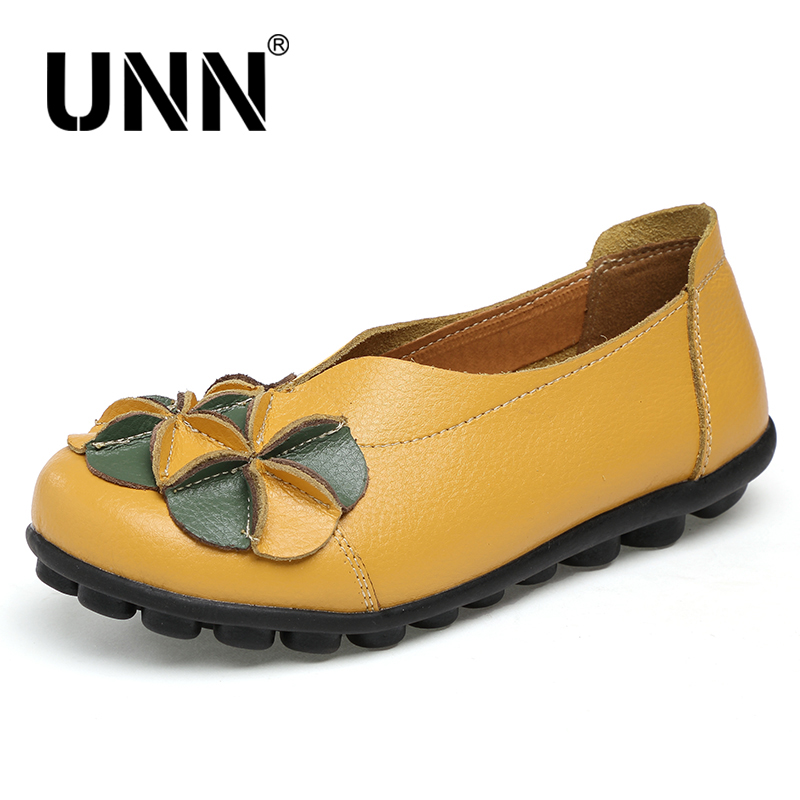 UNN New Women Real Leather Flowers Shoes Mother Loafers Soft Leisure Flats Female Driving Casual Footwear Solid Boat Shoes sexemara new original handmade women genuine leather shoes lace soft cowhide loafers real skin ladies shoes driving female shoes
