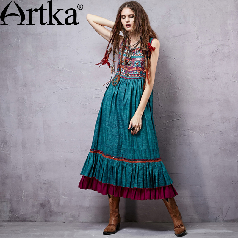 ARTKA Women's Summer New Ethinic Printed Ankle Length Dress Square Collar Sleeveless Empire Waist Wide Hem Dress LA14357C|dress square|empire waistartka women - AliExpress
