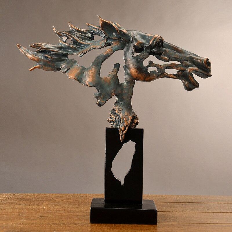 [Best] 60cm artisanat manuel créatif tête de cheval figure statue résine animal guerre cheval ornements modèle maison chambre décoration cadeau