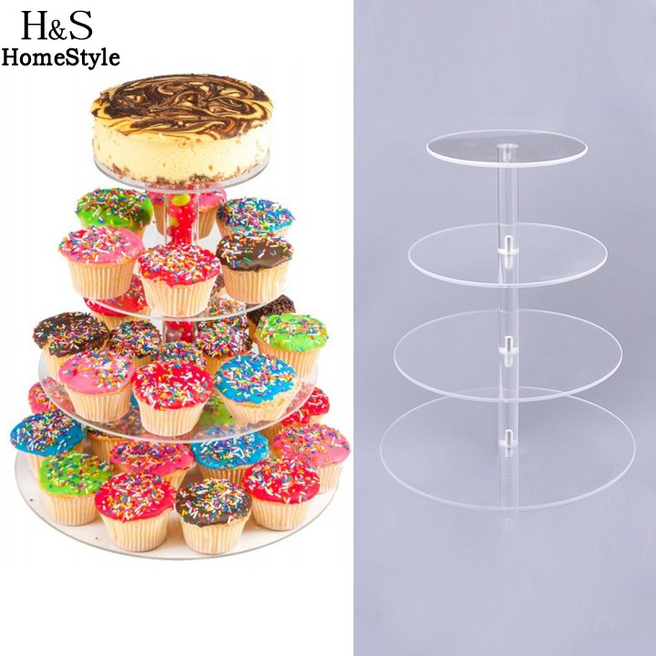 4 Tier Cake Decorating Carousel Organizer : 4 Tier Crystal Clear Circle Acrylic Round Cupcake Stand ...