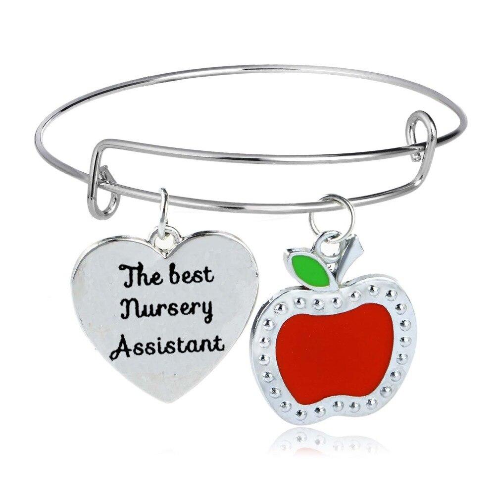 Ordentlich Thanksgiving Geschenk Für Lehrer Die Beste Kindergarten Assistent Charme Armband Armreif Schule Frauen Männer Lehrer Apple Herz Armreif