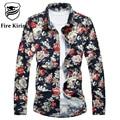 Fire Kirin Floral Shirt Men Long Sleeve Shirts 2017 Fashion Men Hawaiian Shirt Luxury 6XL 7XL Camisa Masculina High Quality T186