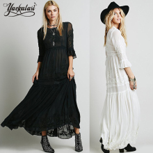 Mujeres boho dress 2016 bohemia largo maxi dress chic dress con manga larga femenina del bordado negro blanco vestidos de ropa de marca