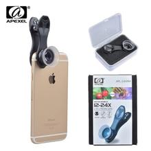 Apexel 유니버설 매크로 사진 렌즈 12 24x 슈퍼 매크로 렌즈 아이폰에 대 한 휴대 전화 카메라 렌즈 삼성 xiaomi