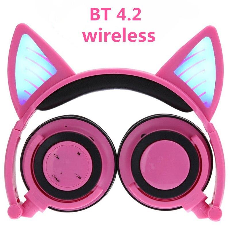 Беспроводной Bluetooth кошка Наушники ihens5 складной светодиодный свет мигает светящиеся Косплэй Cat Fancy наушники подарок для детей телефоны