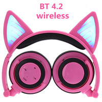 Wireless Bluetooth Cat Ear Headphones ihens5 Foldable LED light Flashing Glowing Cosplay Fancy Cat Earphone gift for kids phones
