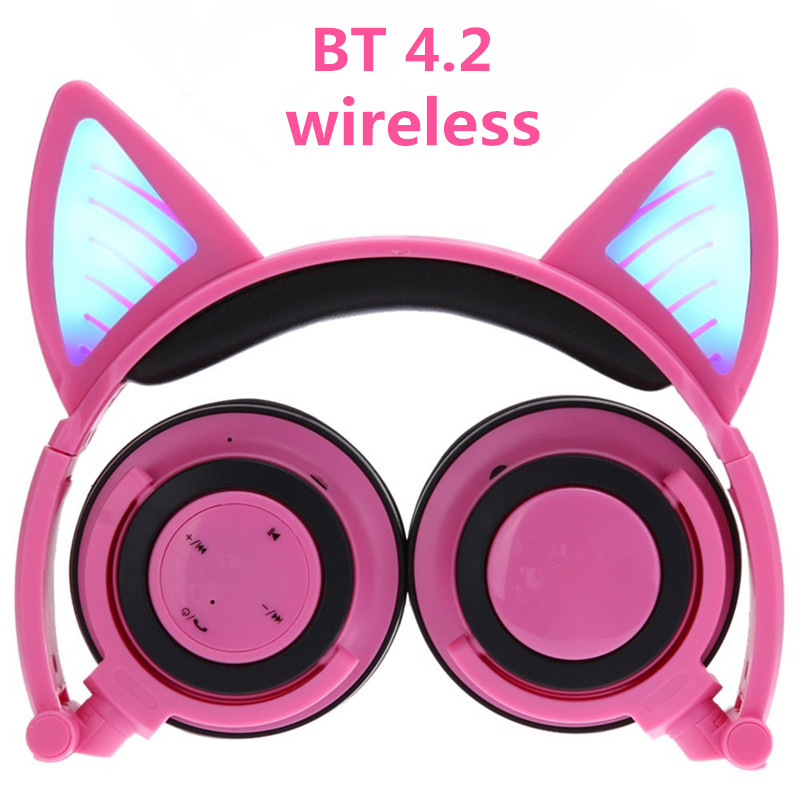Wireless Bluetooth Cat Ear Headphones ihens5 Foldable LED light Flashing Glowing Cosplay Fancy Cat Earphone gift for kids phones