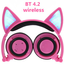 Promo offer Wireless Bluetooth Cat Ear Headphones ihens5 Foldable LED light Flashing Glowing Cosplay Fancy Cat Earphone gift for kids phones