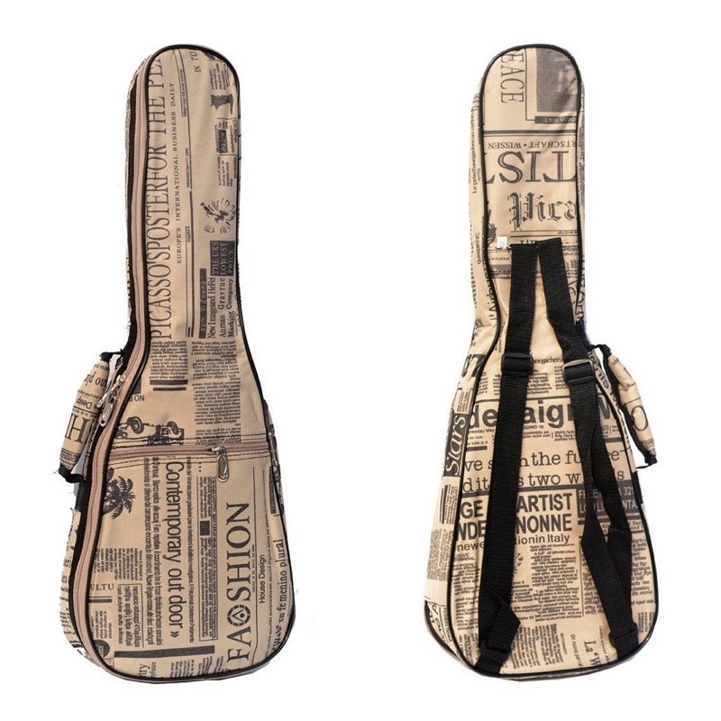 Newspaper printing 23 inch 26 inches protection small guitar bag high waterproof Ukelele case sponge 24 inch little guitar case