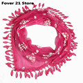 Новый элегантный Шик Мода Кружева Кисточкой Sheer Burntout Цветочный Печати Треугольник Мантилья Шарф Шаль женщин Хиджабы Бесплатная доставка