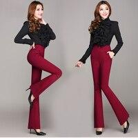 High Waist Women 2016 Fashion Office Work Pants Plus Size Wide Leg Ladies Formal Trousers Black