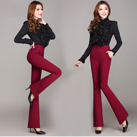 High Waist Women 2016 Fashion Office Work Pants Plus Size Wide Leg Ladies Formal Trousers Black
