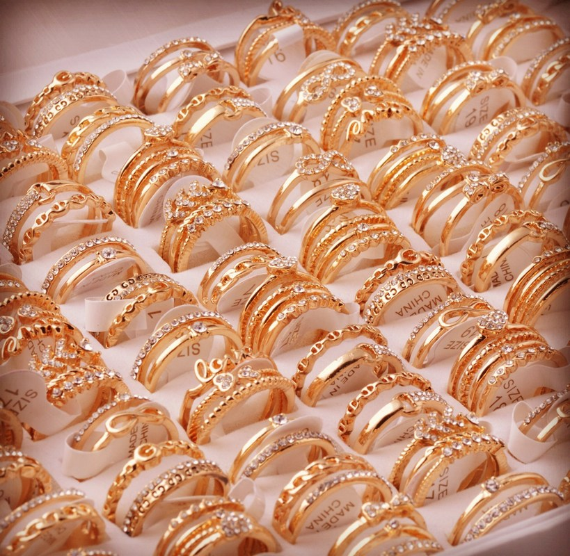 Fashion Wholesale Lots 50Pcs Mixed Style Gold color Alloy Zirconia Open Adjustable Rings for Women Lady Bulk Jewelry-in Rings from Jewelry & Accessories    2