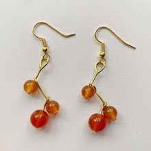 цена Bhuann Natural Carnelian Stones Beads 6 8mm Crystal Dangle Drop Earrings Red Stones Golden Color Earrings Hook Jewelry 1 Pair онлайн в 2017 году