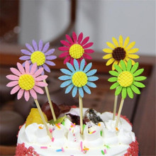 3 Pcs Sunflower Cake Decoration Flags Dessert Table Dress Up For Wedding/birthday/thanksgiving/mother Party Decoration Supplies(China)