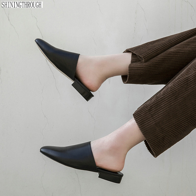 100% Kuh Leather2cm Low Heels Frauen Hausschuhe Rouned Kappe Sommer Damen Rutschen Frauen Casual Maultiere Schuhe Frau Klar Und GroßArtig In Der Art
