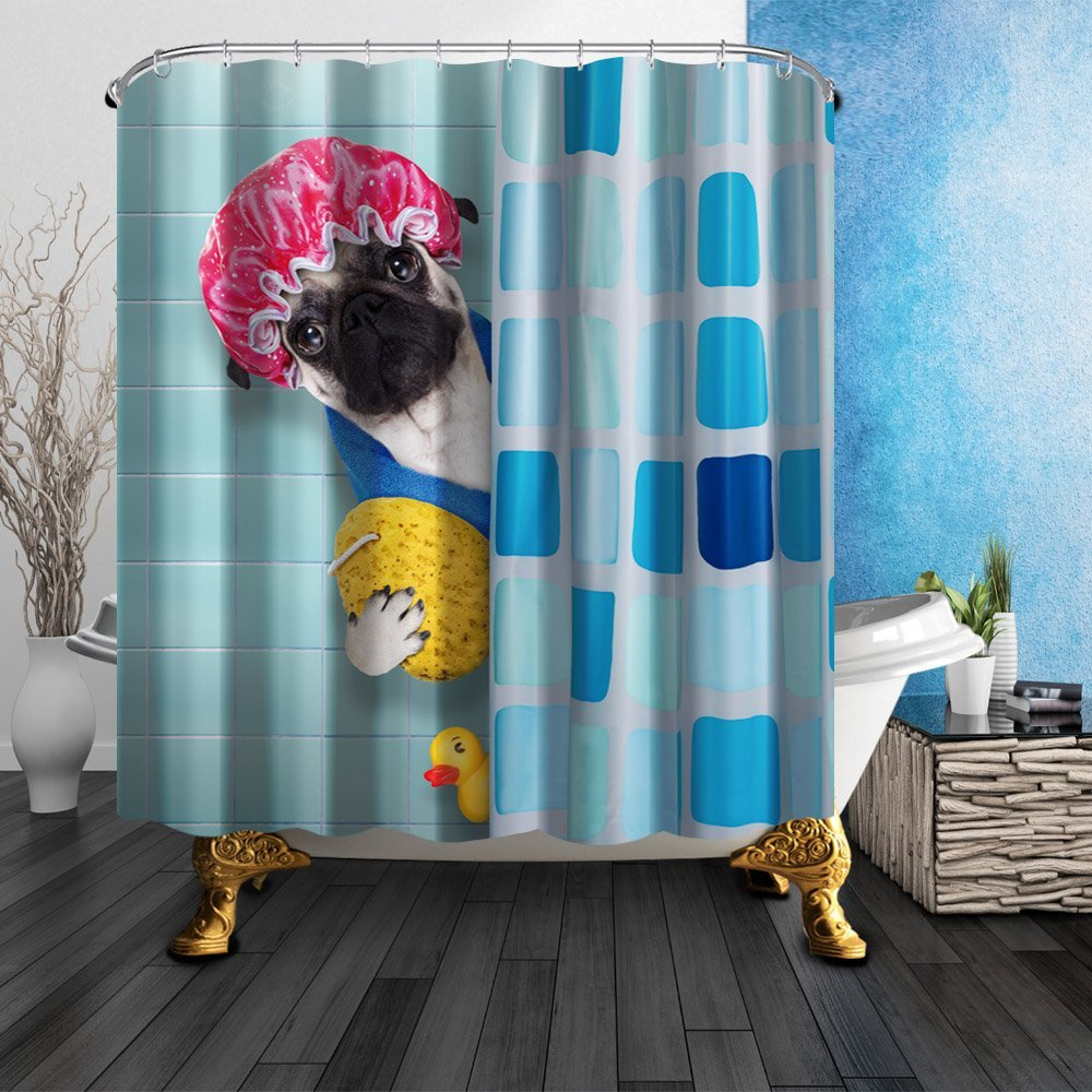 Cartoon Dog With Shower Cap Yellow Duck Mildew Resistant Polyester ...