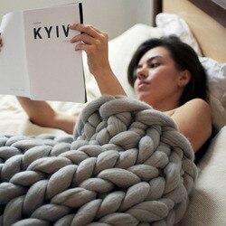 Manta de punto de ganchillo de decoración de sofá tejido a mano de manta gruesa suave y cálida de acrílico