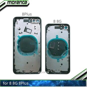 Back Cover voor iPhone 8 8g Plus 8 Plus Terug Behuizing Batterij Deur Midden Frame Chassis met Zijknoppen sim Tray Wit Zwart Rood