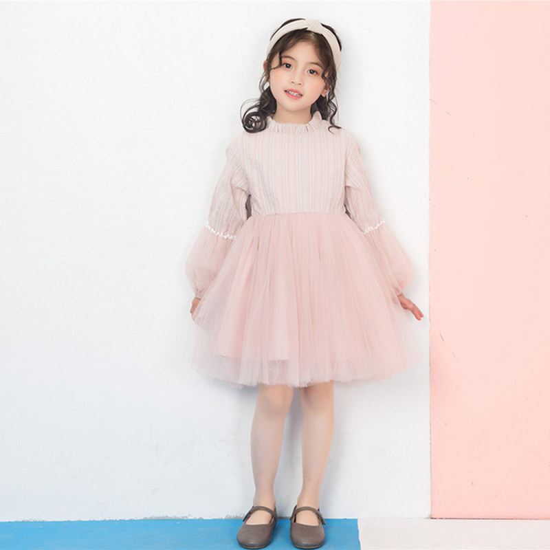Girls fashion 2019 new arrival princess pink splicing long sleeve girls one pieces tulle dresses