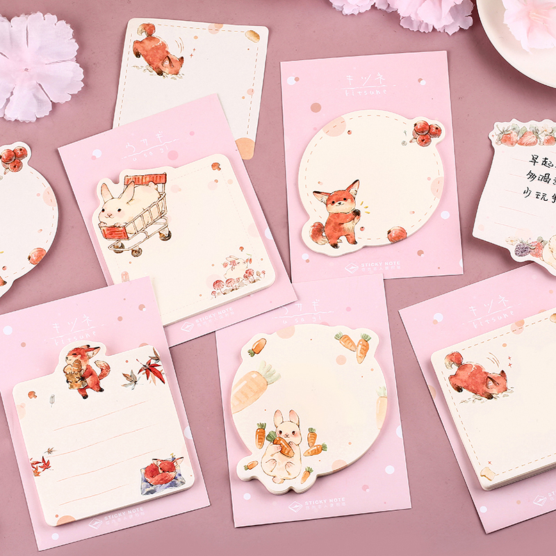30 Sheets/pad Cute Rabbit And Fox Sticky Note Memo Pad Post Stickers Planner Agenda Stationery Office School Supplies